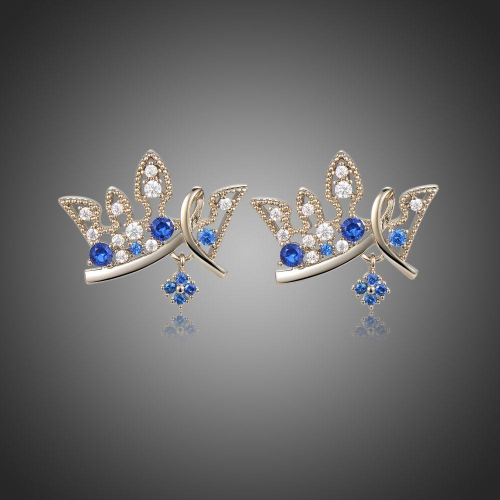 Paved Blue Cubic Zirconia Crown Stud Earrings -KFJE0419 - KHAISTA1