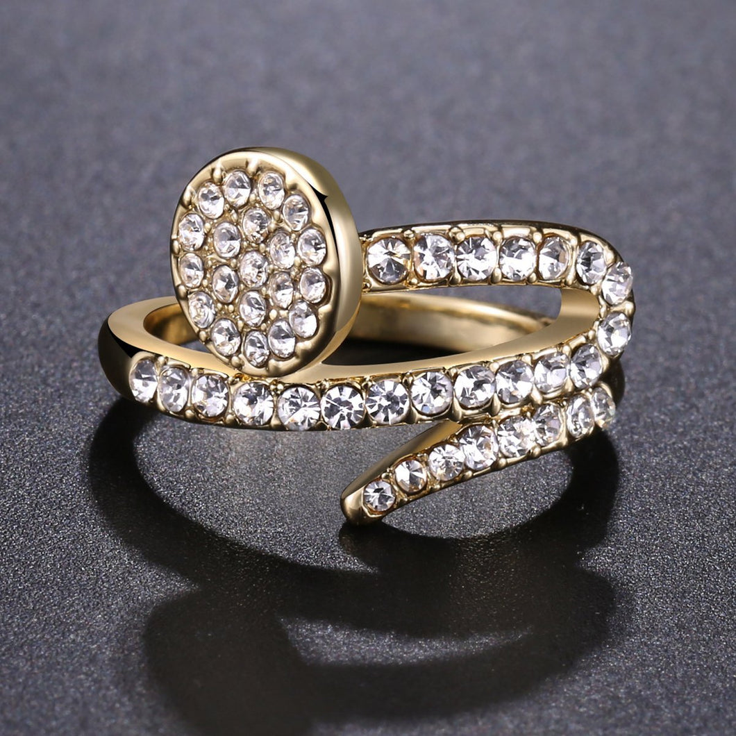 Paved Clear Austrian Rhinestone Shower Ring - KHAISTA Fashion Jewellery