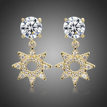 Load image into Gallery viewer, Paved CZ Crystal Flower Drop Earrings -KFJE0417 - KHAISTA1