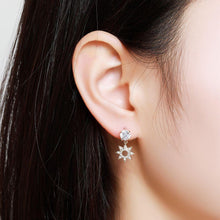 Load image into Gallery viewer, Paved CZ Crystal Flower Drop Earrings -KFJE0417 - KHAISTA4