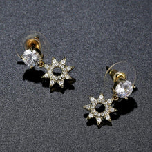 Load image into Gallery viewer, Paved CZ Crystal Flower Drop Earrings -KFJE0417 - KHAISTA3
