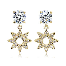 Load image into Gallery viewer, Paved CZ Crystal Flower Drop Earrings -KFJE0417 - KHAISTA5