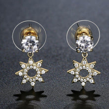 Load image into Gallery viewer, Paved CZ Crystal Flower Drop Earrings -KFJE0417 - KHAISTA2