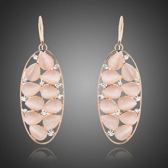Peach Crystal Oval Drop Earrings - KHAISTA Fashion Jewellery