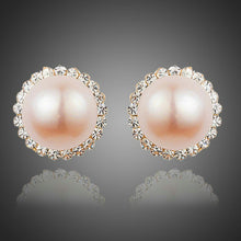 Load image into Gallery viewer, Peach Pearl Dome Stud Earrings - KHAISTA Fashion Jewellery
