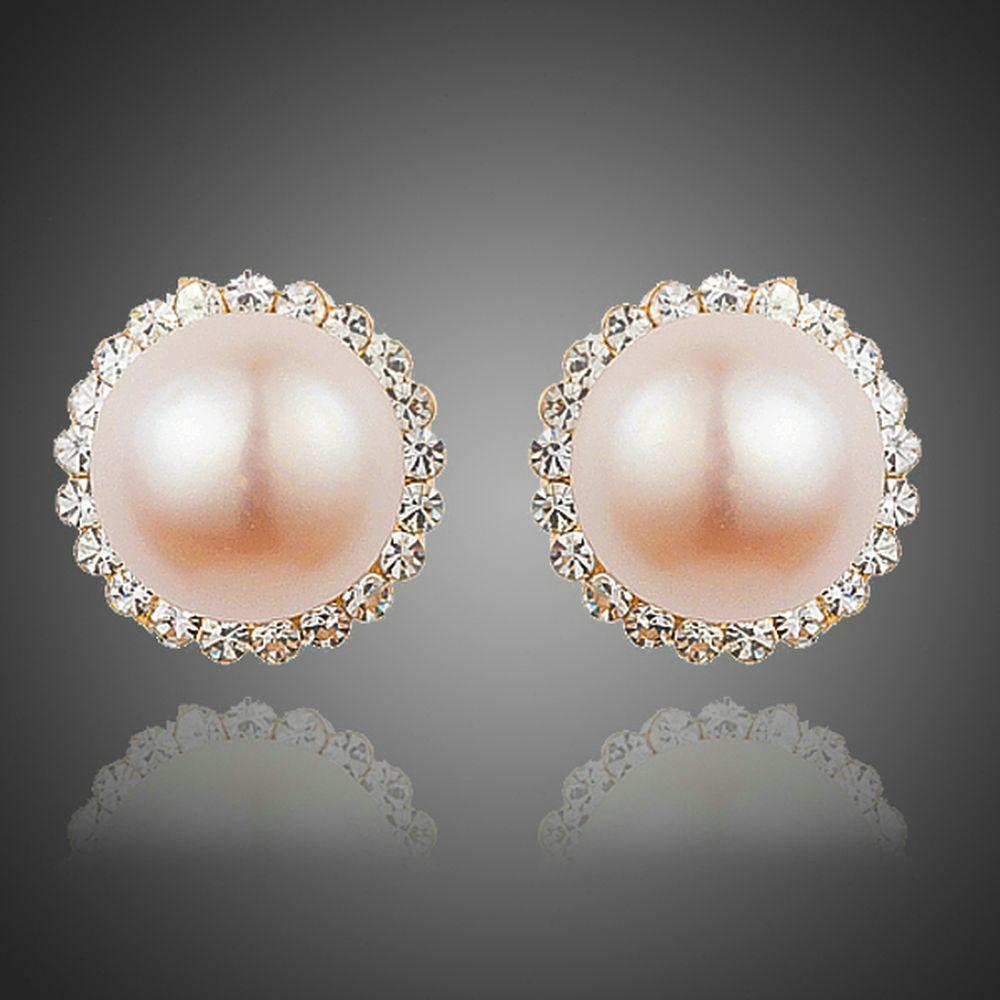 Peach Pearl Dome Stud Earrings - KHAISTA Fashion Jewellery