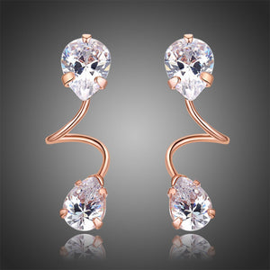 Pear Cut Cubic Zirconia Drop Earrings -KPE0322 - KHAISTA Fashion Jewellery