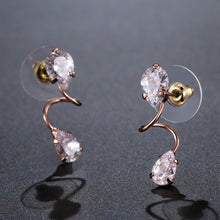 Load image into Gallery viewer, Pear Cut Cubic Zirconia Drop Earrings -KPE0322 - KHAISTA Fashion Jewellery