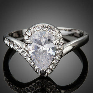 Pear Cut Cubic Zironia Waterdrop Micro Pave Engagement Ring - KHAISTA Fashion Jewellery