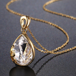 Pear Cut Long Chain Pendant Necklace KPN0241 - KHAISTA Fashion Jewellery