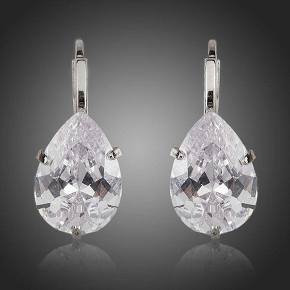 Pear Shaped Cubic Zirconia Drop Earrings - KHAISTA Fashion Jewellery