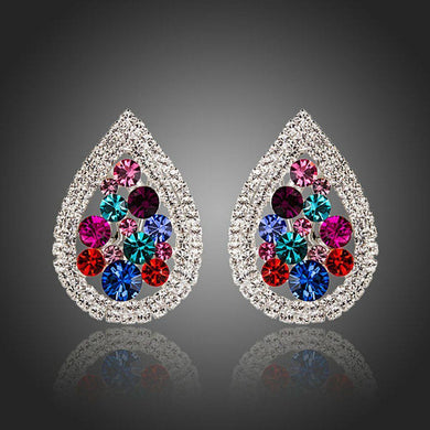 Pear Shaped Cubic Zirconia Stud Earrings - KHAISTA Fashion Jewellery