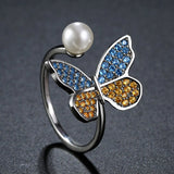 Pearl Butterfly Cubic Zirconia Ring for Women - KHAISTA Fashion Jewellery
