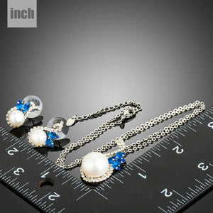 Pearl Fashion Blue CZ Flower Stud Earrings and Necklace Set - KHAISTA Fashion Jewellery