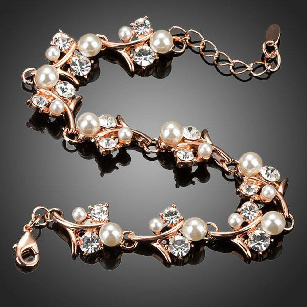 Pearl Flower Crystal Bracelet - KHAISTA Fashion Jewellery