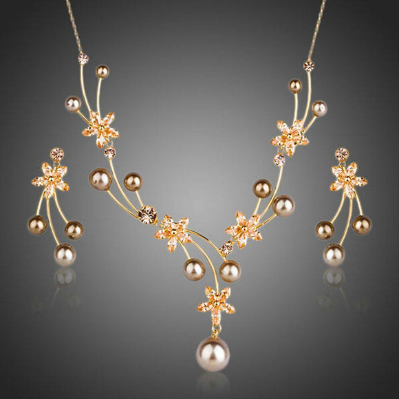 Pearl Flower Drop Earrings & Necklace Set - KHAISTA Fashion Jewellery