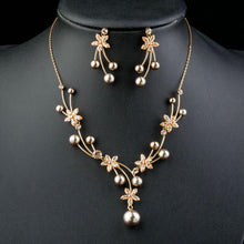 Load image into Gallery viewer, Pearl Flower Drop Earrings & Necklace Set - KHAISTA Fashion Jewellery