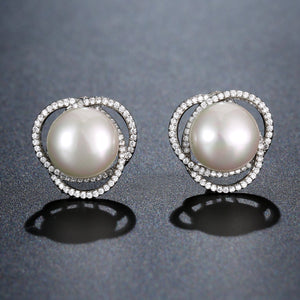 Pearl Flower Stud Earrings -KPE0360 - KHAISTA Fashion Jewellery