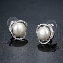 Load image into Gallery viewer, Pearl Flower Stud Earrings -KPE0360 - KHAISTA Fashion Jewellery