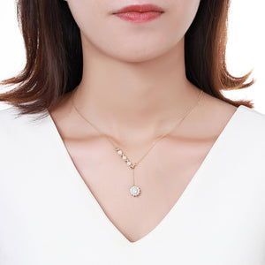 Pearl Necklace With Sunflower Shape Pendant KPN0255 - KHAISTA Fashion Jewellery