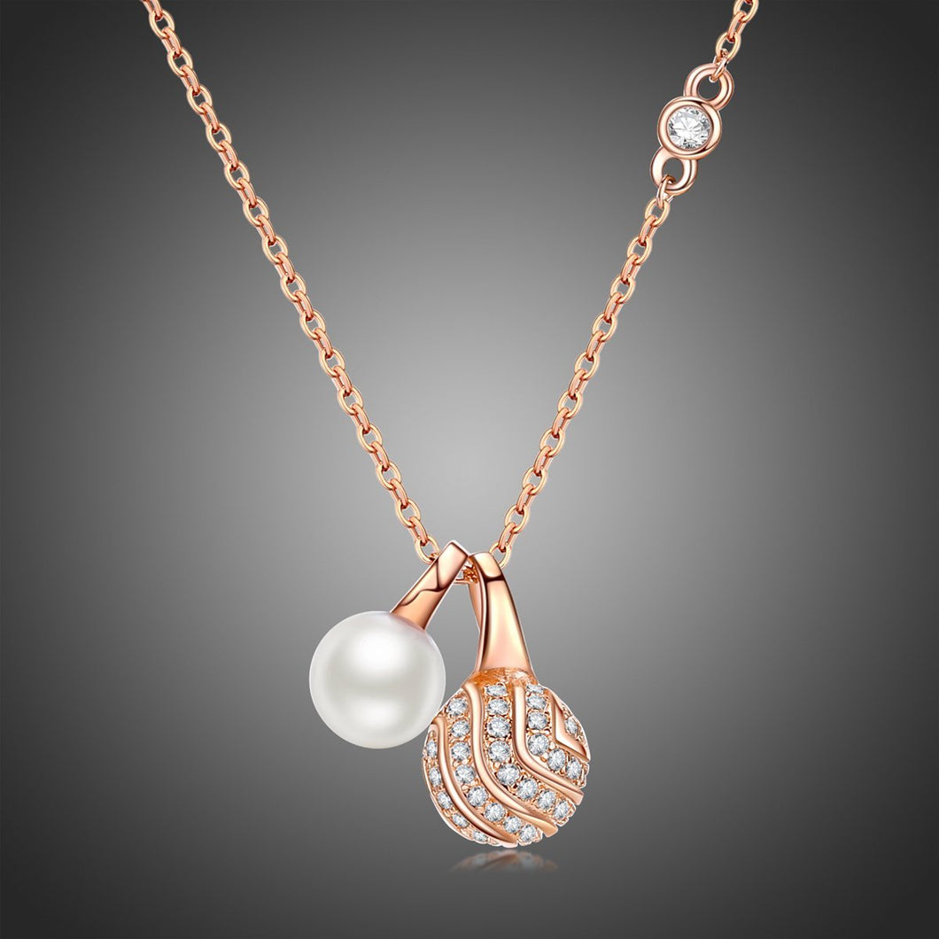Pearl Round Ball Cubic Zirconia Pendant Necklace KPN0245 - KHAISTA Fashion Jewellery