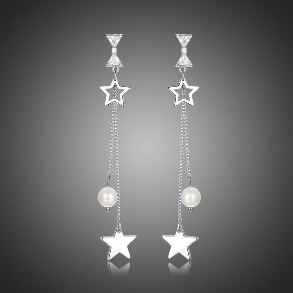 Pentagram Clear Cubic Zirconia Pearl Drop Earrings -KPE0402 - KHAISTA