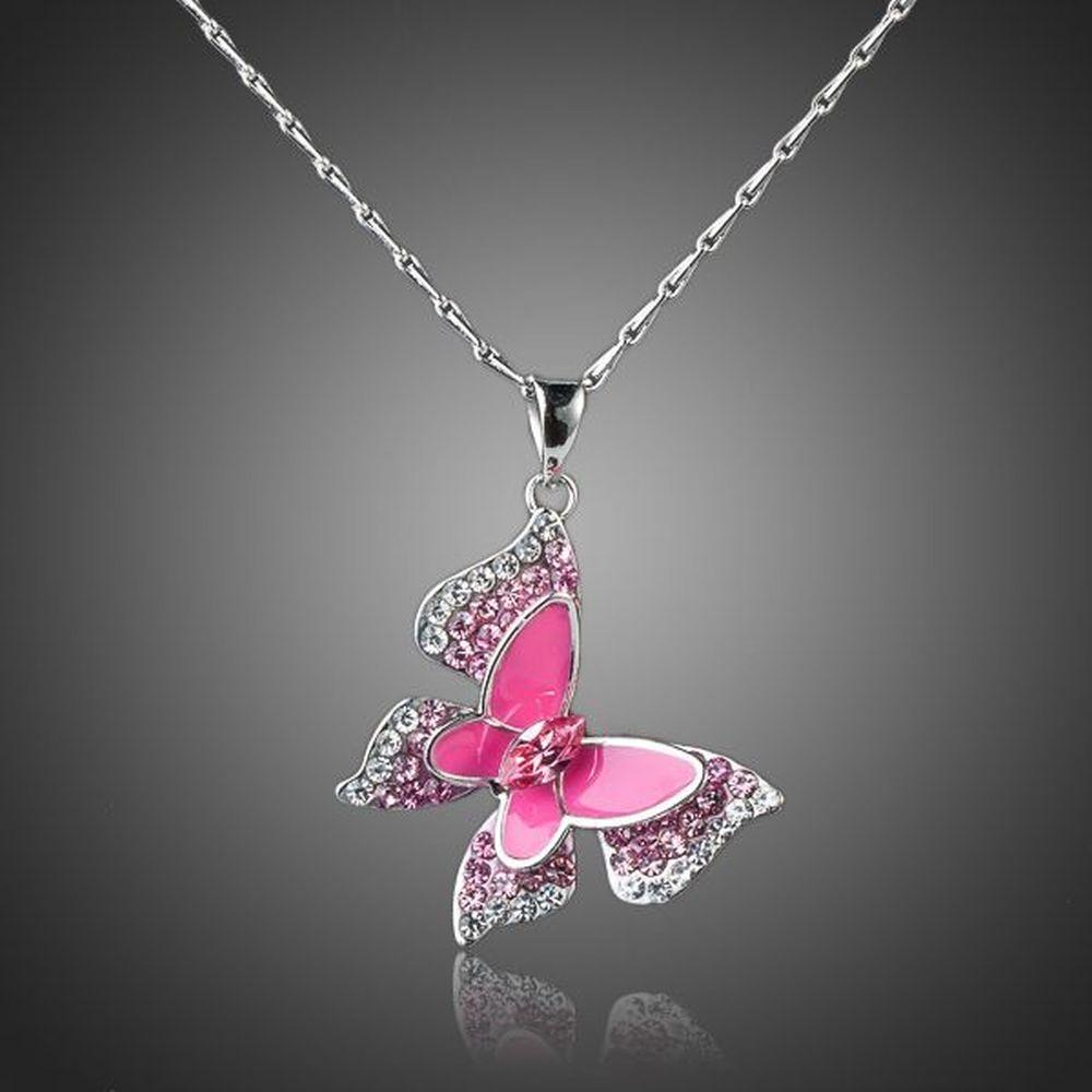 Pink Butterfly Necklace KPN0066 - KHAISTA Fashion Jewellery