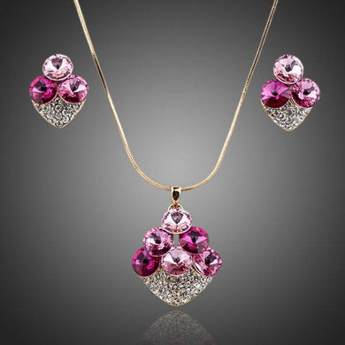 Pink Leaf Clover Litchi Stellux Austrian Crystal Earrings and Necklace Set - KHAISTA Fashion Jewellery