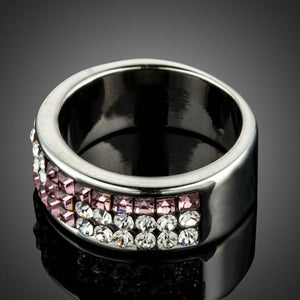 Pink Square Austrian Crystal Ring - KHAISTA Fashion Jewellery