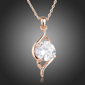 Plant Shaped Cubic Zirconia Pendant Necklace - KHAISTA Fashion Jewellery