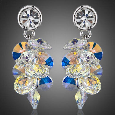 Platinum Plated Crystal Cluster Drop Earrings - KHAISTA Fashion Jewellery