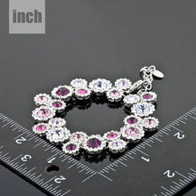 Load image into Gallery viewer, Platinum Plated Purple Crystal Charm Bracelet - KHAISTA Fashion Jewellery