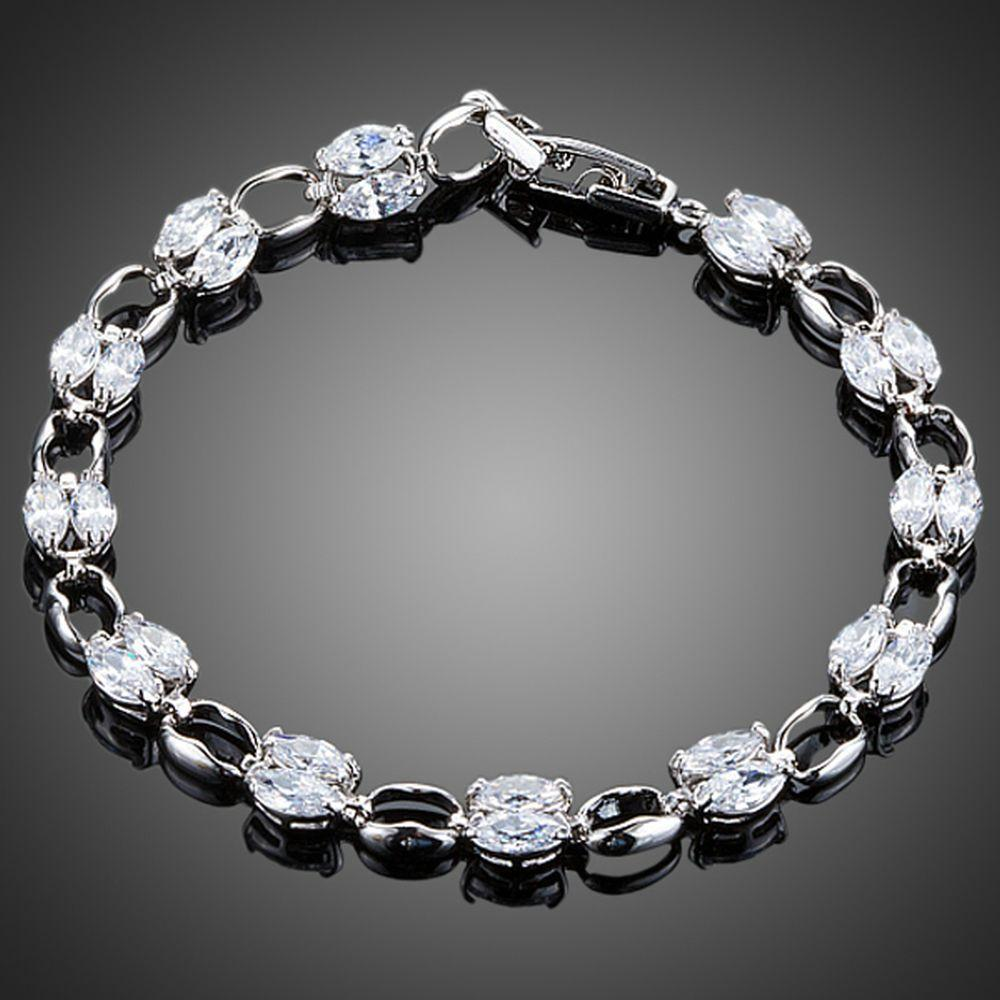 Platinum Plated Toggle Clasp Bracelet - KHAISTA Fashion Jewellery