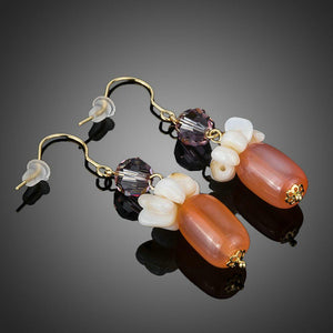 Pumpkin Orange Crystal Drop Earrings - KHAISTA Fashion Jewellery