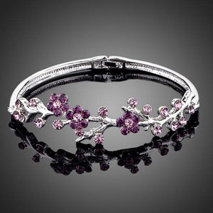 Purple Blossom Twig Bangle - KHAISTA Fashion Jewellery