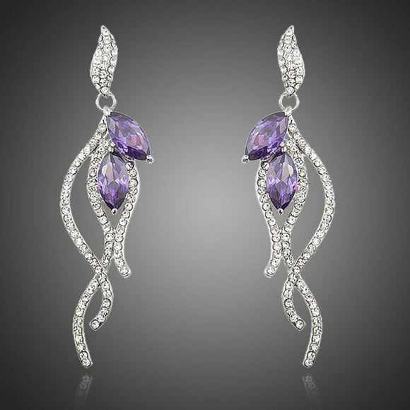 Purple Coral Cubic Zirconia Earrings - KHAISTA Fashion Jewellery