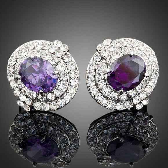 Purple Crystal Dome Stud Earrings - KHAISTA Fashion Jewellery