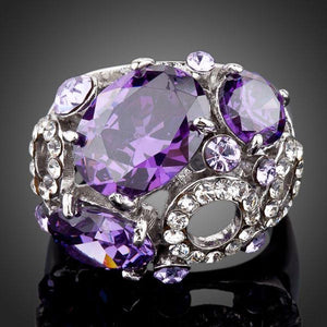Purple Crystal Fashion Ring - KHAISTA Fashion Jewellery