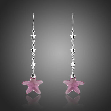 Purple Crystal Star Drop Earrings - KHAISTA Fashion Jewellery