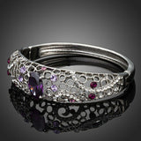 Purple Cubic Zirconia Bangle -KBQ0049 - KHAISTA Fashion Jewelry