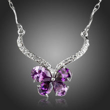 Load image into Gallery viewer, Purple Cubic Zirconia Butterfly Necklace KPN0144 - KHAISTA Fashion Jewellery