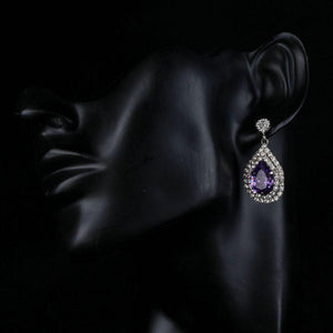 Purple Cubic Zirconia Crystal Drop Earrings - KHAISTA Fashion Jewellery
