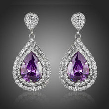 Load image into Gallery viewer, Purple Cubic Zirconia Crystal Drop Earrings - KHAISTA Fashion Jewellery