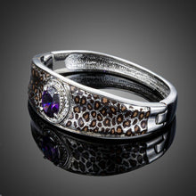 Load image into Gallery viewer, Purple Cubic Zirconia Leopard Print Bangle - KHAISTA Fashion Jewellery