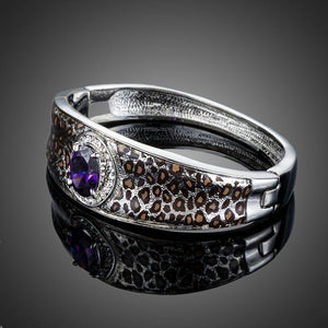 Purple Cubic Zirconia Leopard Print Bangle - KHAISTA Fashion Jewellery