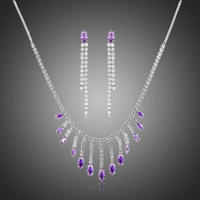 Purple Cubic Zirconia Long Tassel Statement Necklace Earrings Set - KHAISTA Fashion Jewellery