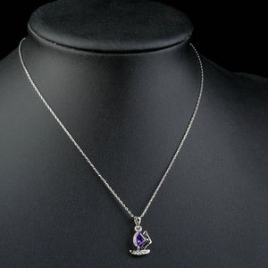 Purple Cubic Zirconia Sail Boat Design Necklace KPN0146 - KHAISTA Fashion Jewellery