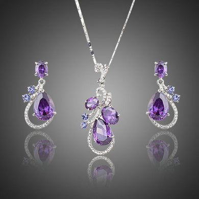 Purple Cubic Zirconia Water Drop Earrings and Necklace Jewelry Set - KHAISTA Fashion Jewellery