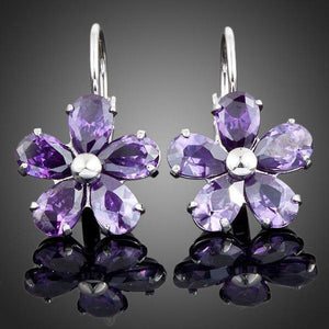 Purple Daisy Stud Earrings - KHAISTA Fashion Jewellery