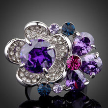 Load image into Gallery viewer, Purple Flower Crystal Adjustable Ring -KFR0062 - KHAISTA